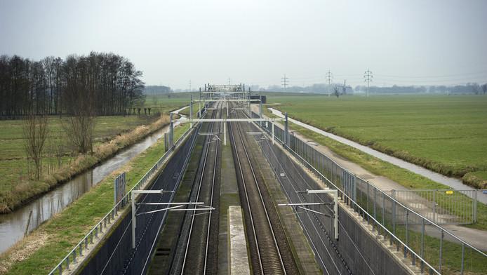 Trace van de Betuwelijn ter hoogte van Giessen-Oudekerk in de Alblasserwaard.