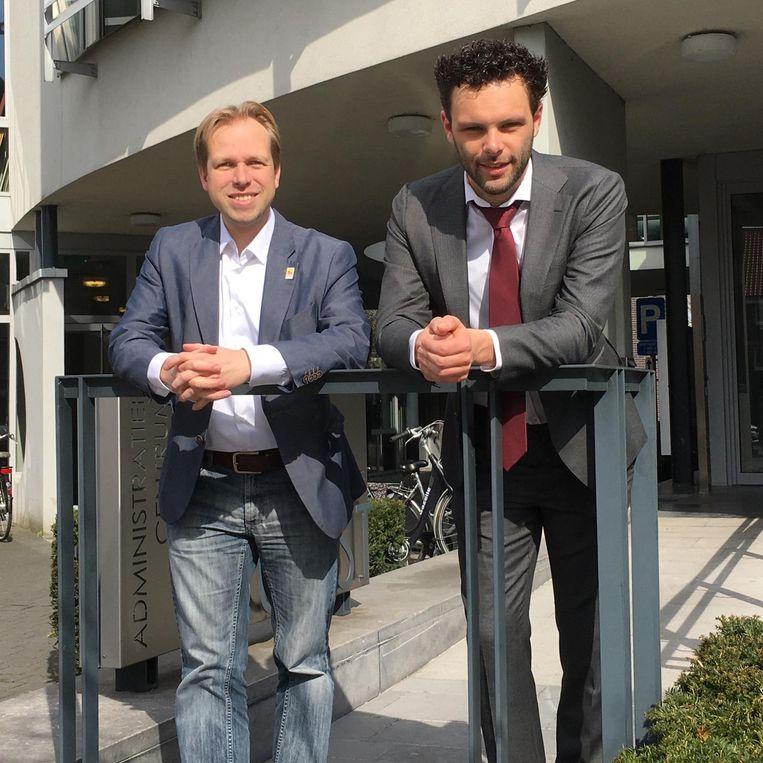 Huidig burgemeester Geert Antonio en schepen Jurgen Callaerts.