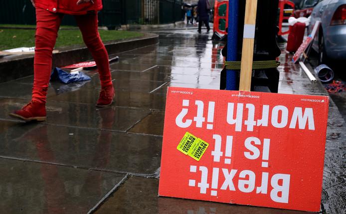 Een protestbord nabij het parlementsgebouw in Londen.