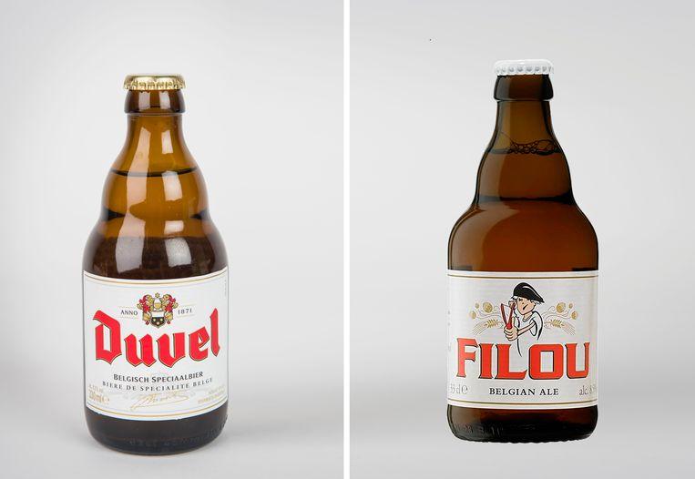 Een flesje Duvel en een flesje Filou: bruine fles, wit etiket en rood logo.