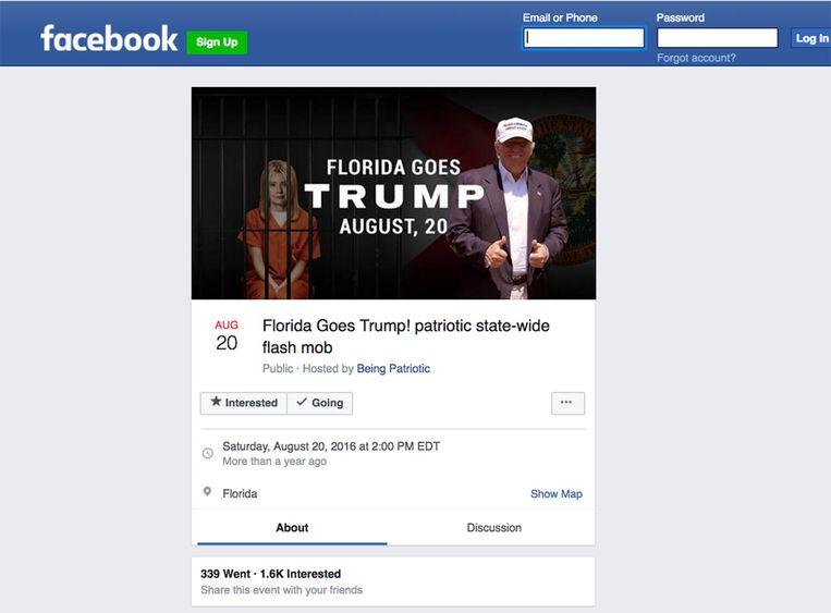 Een banner die door Russen via Facebook is verspreid tijdens de Amerikaanse verkiezingscampagne. De facebook-berichten van de Russen hebben 126 miljoen Amerikanen bereikt, wat neerkomt op ongeveer 40 procent van de bevolking. Beeld
