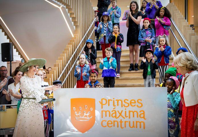 Koningin Maxima tijdens de opening van het Prinses Maxima Centrum voor Kinderoncologie.