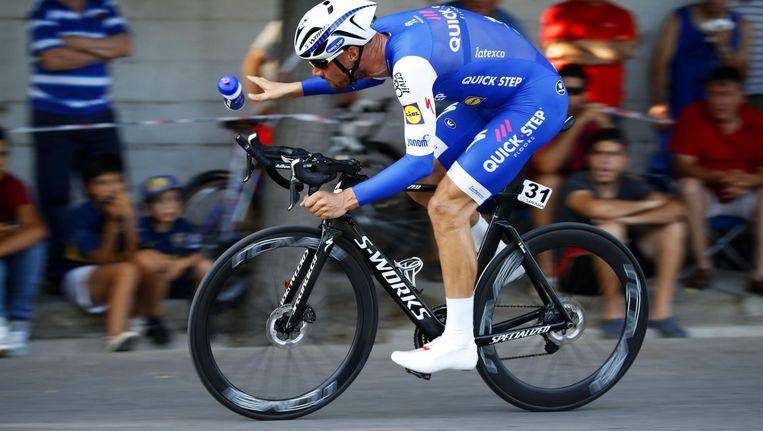 Tom Boonen met zijn remschijven op weg naar de overwinning in San Juan. Beeld Cor Vos