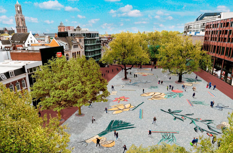 Impressie van het kunstwerk van Jennifer Tee. De impressie werd voor de aanleg gemaakt en gebruikt bij de online stemming over het uiterlijk van het Vredenburgplein.