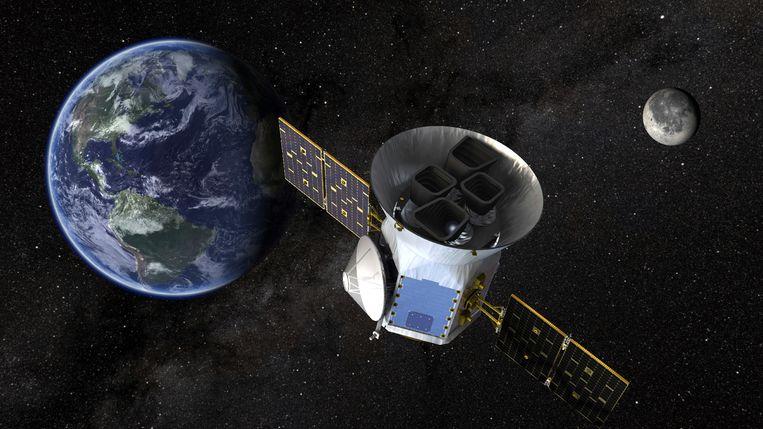Een illustratie van Transit Exoplanet Survey Satellite (Tess), die woensdagavond omhoog gaat. Beeld null