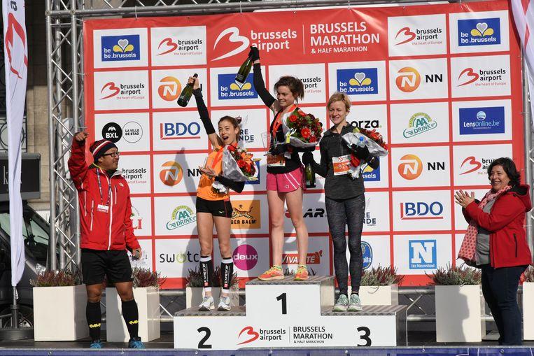Marathon Brussel vrouwen Juliet Champion 2, eerste Kabiratou Nassam,3e Sarka Vystejnova