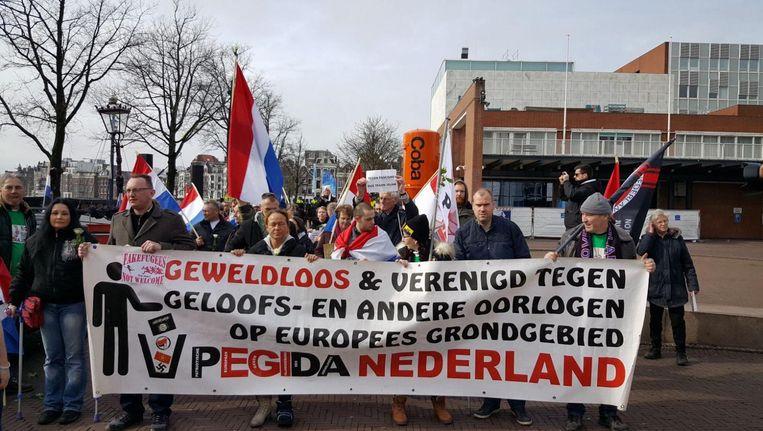 De demonstranten van Pegida Beeld -