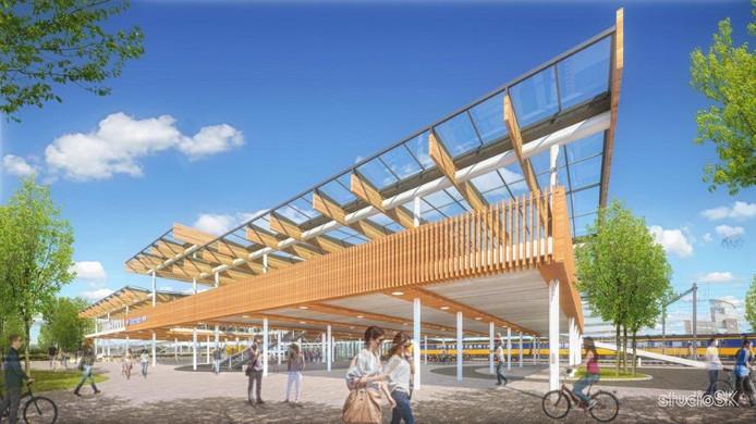 De achterkant van Station Dordrecht krijgt een compleet nieuw uiterlijk, met een fietsenstalling met meer dan 2000 plaatsen.