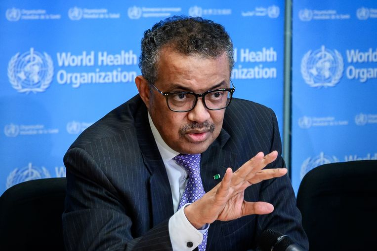 Tedros Adhanom Ghebreyesu, directeur-generaal van de Wereldgezondheidsorganisatie WHO. Beeld AFP