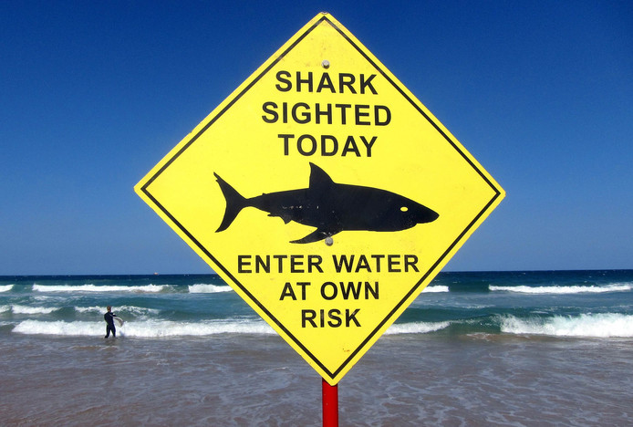 Waarschuwingsbord bij een Australisch strand.