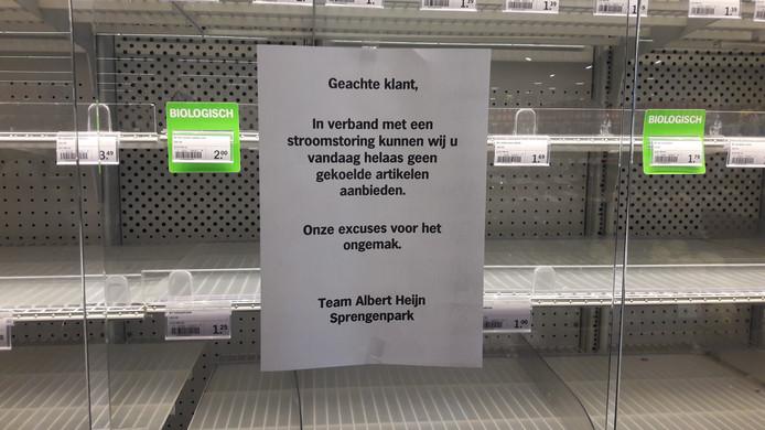 Lege koelingen bij de Albert Heijn in Apeldoorn.