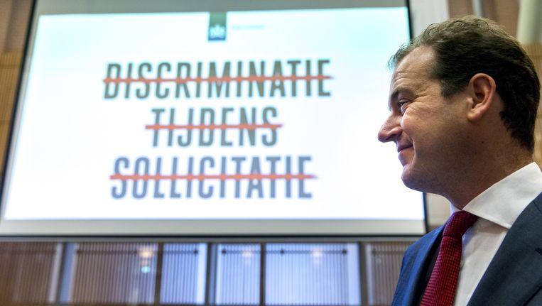Minister Lodewijk Asscher van Sociale Zaken gaf vorige week het startsein voor een campagne tegen arbeidsmarktdiscriminatie. Beeld anp