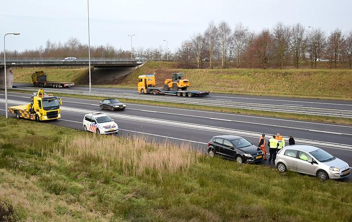 Ongeluk op A58 bij Etten-Leur. Foto Alexander Vingerhoeds