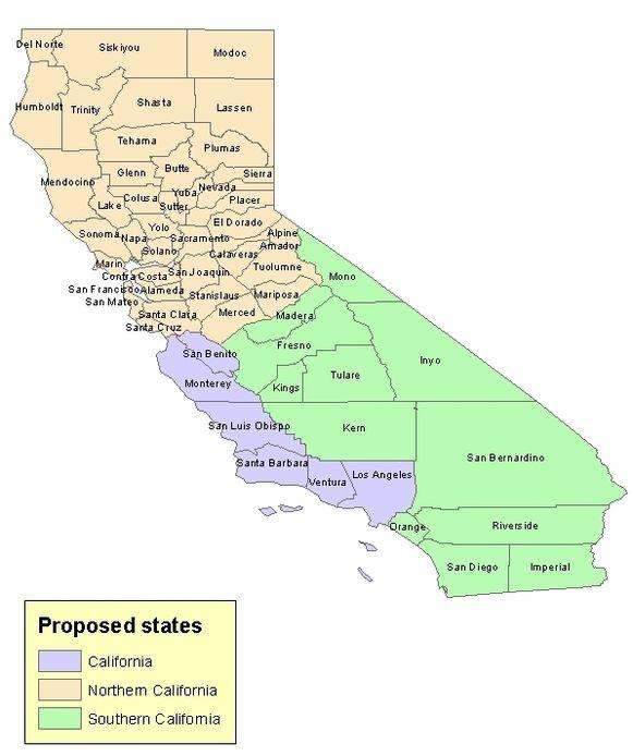 Ze willen de staat opsplitsen in Californië, Noord-Californië en Zuid-Californië.