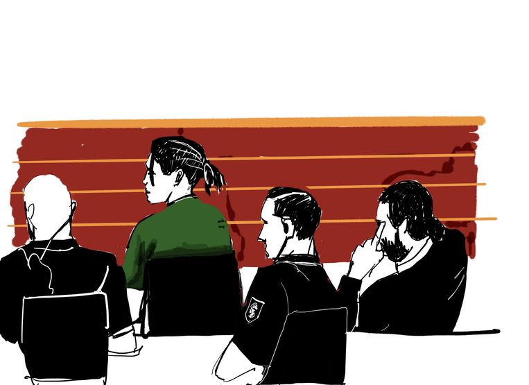 Deze schets toont A$AP Rocky in de rechtszaal vandaag