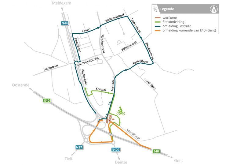 Wie van de E40 Gent komt, volgt nu de gele lijn op dit plannetje.