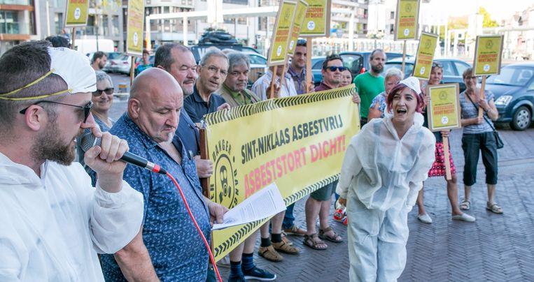 Protest van het actiecomité Asbeststortplaats Dicht en PVDA (archieffoto).