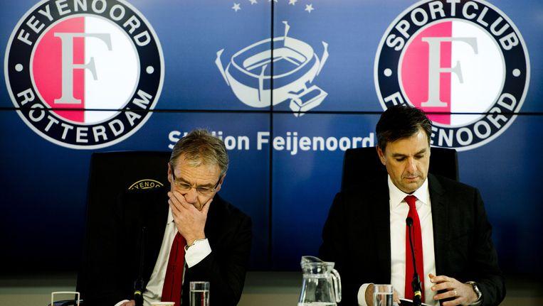Algemeen directeur van Feyenoord Eric Gudde (L) en Jan van Merwijk, directeur van Stadion Feijenoord Beeld ANP