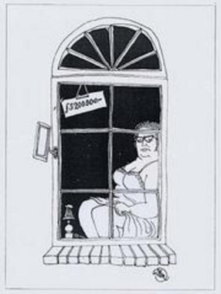 De spotprent van Bernard Holtrop uit 1966 waarin hij koningin Juliana afbeeldt als prostituee op zoek naar klanten. Beeld Bernard Holtrop