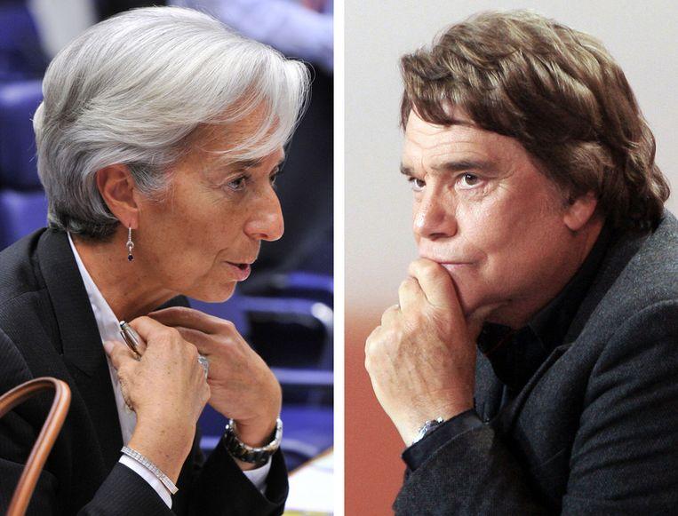 IMF-baas Christine Lagarde (L) en zakenman Bernard Tapie. © AFP Beeld