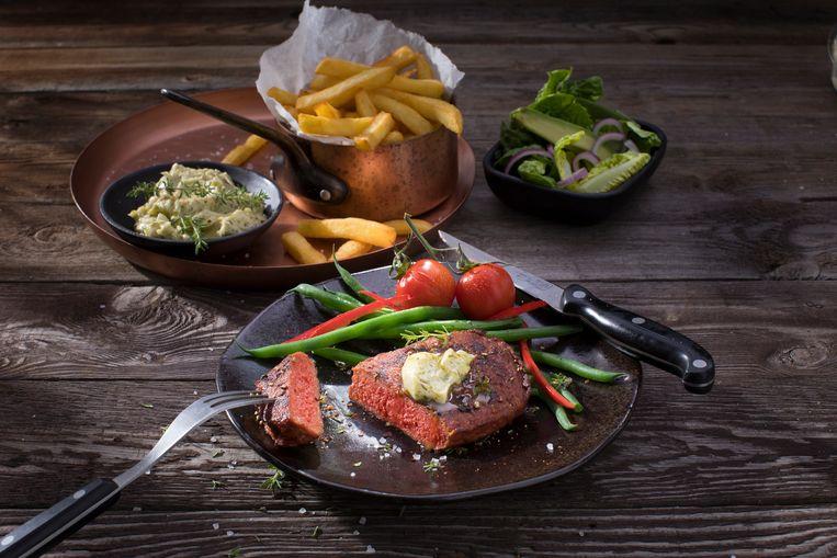 Vivera Veggie Steak, 100 procent plantaardige biefstuk. Vegetarisch Beeld Vivera