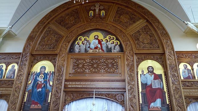 Interieur van de Koptische kerk aan de Biezelingsestraat in Kapelle.