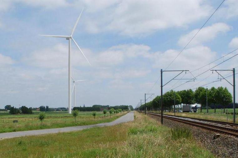 Een toekomstbeeld van de windmolens in de Handzamevallei.