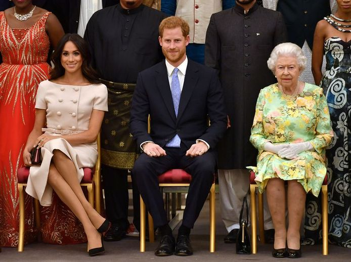 Meghan, Harry et la Reine.