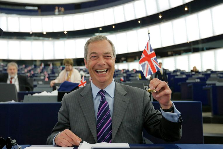 Nigel Farage in het Europees Parlement. Beeld reuters