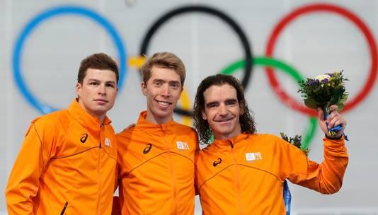 Sven Kramer (zilver), Jorrit Bergsma (goud) en Bob de Jong (brons) verdeelden de medailles op de 10 kilometer.