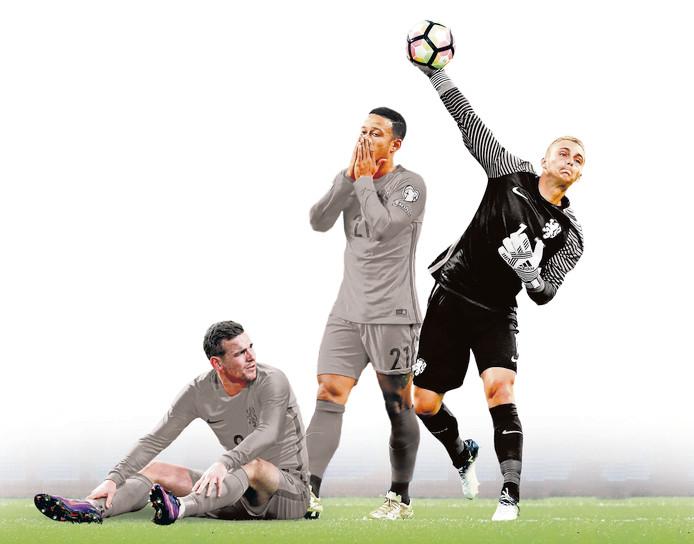 Drie spelers van de huidige Oranje-generatie: Vincent Janssen (23), Memphis Depay (23) en Jasper Cillessen (28).