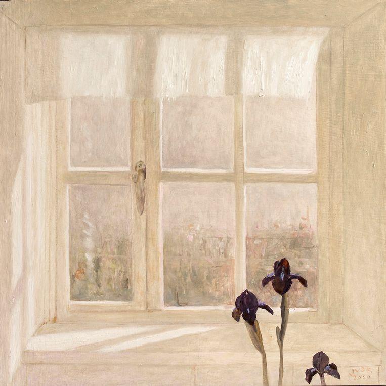 Schilderij van Jan van derKooi: zwarte lissen en een wit kozijn waar het zonlicht door naar binnen schijnt. Beeld Eva Faché