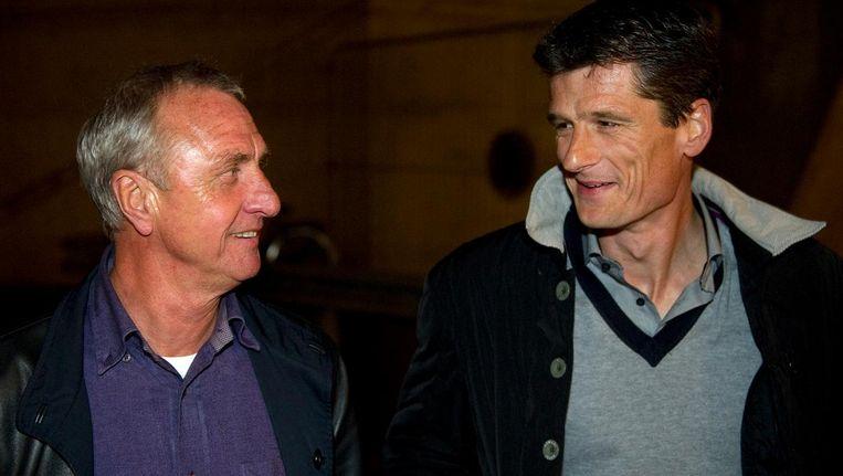 Johan Cruijff en Wim Jonk (R) op een foto uit 2011 Beeld ANP