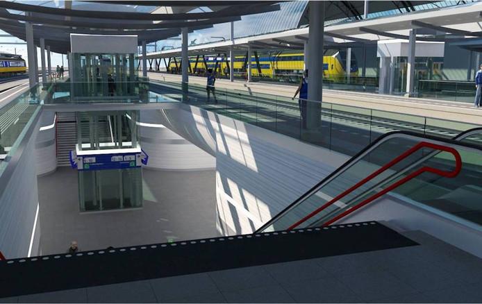 Zo gaan de perrons op station Zwolle eruit zien.Ze worden (iets) breder en er komen brede trappen plus een roltrap. Elk perron heeft een eigen lift, omringd door een glazen plafond, dat na zorgvuldige studies in matglas wordt uitgevoerd, wel daglicht, geen doorzicht. foto ProRail.