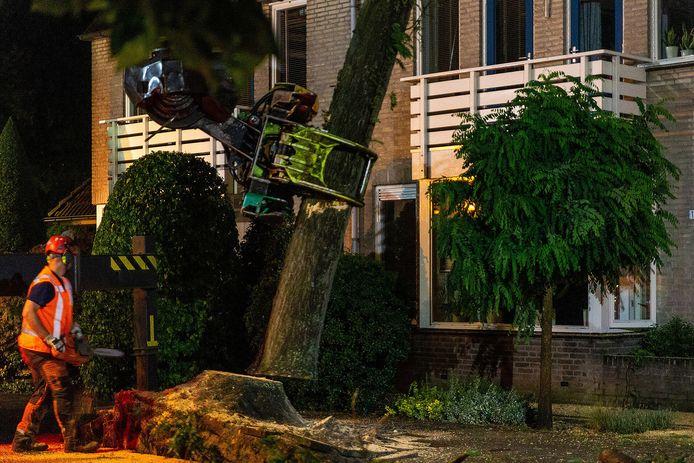 De boom die op 2 huizen in Oosterhout was gevallen is dinsdagavond weggehaald.