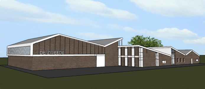 De nieuwe sporthal die gebouwd gaat worden op De Zweede.