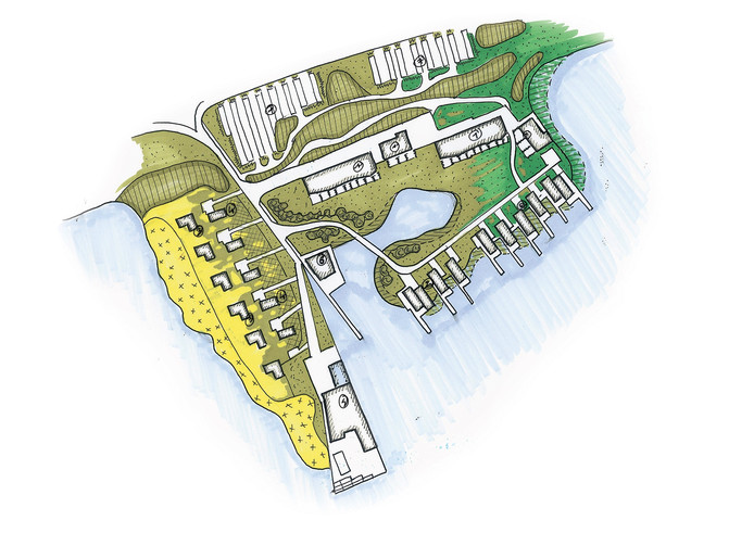 Op het eiland worden een restaurant gebouwd en een hotel met 44 kamers.