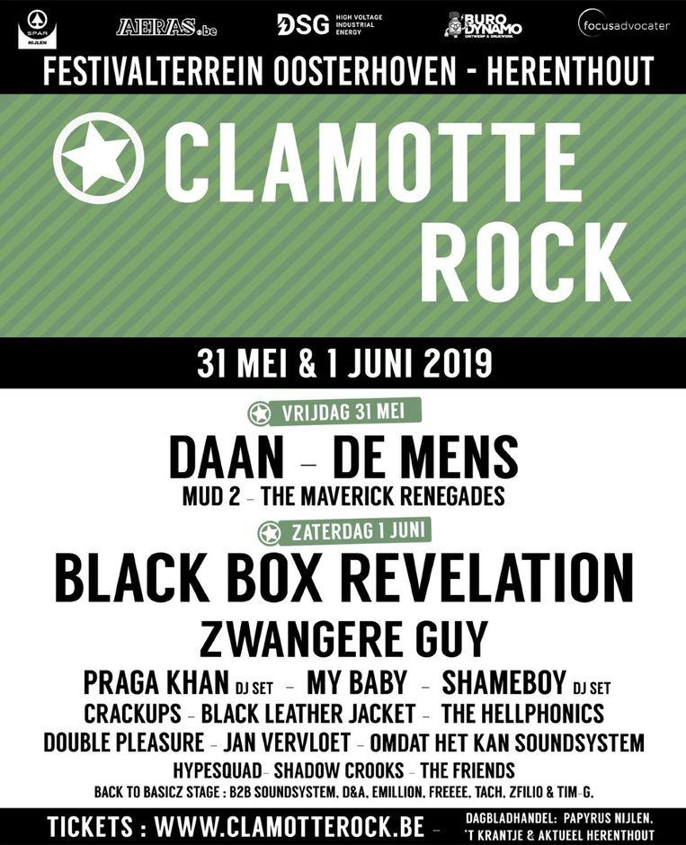 de volledige affiche van Clamotte Rock 2019