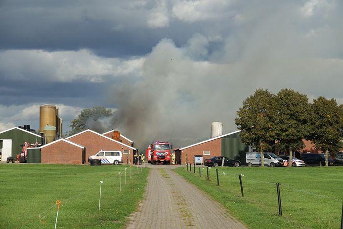 Bij de brand in Dedemsvaart komt veel rook vrij.