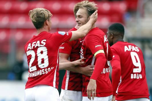 Albert Gudmundsson en Teun Koopmeiners, de doelpuntenmakers bij AZ.