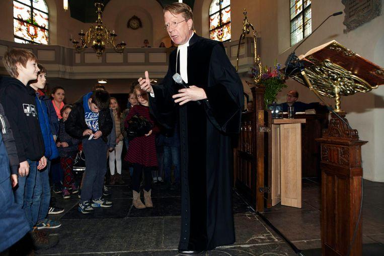 Tijdens de dienst in de Dorpskerk. Beeld Jan Dirk van der Burg