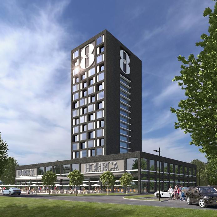 Artist impression van het nieuwe GR8-hotel aan de A16 in Breda