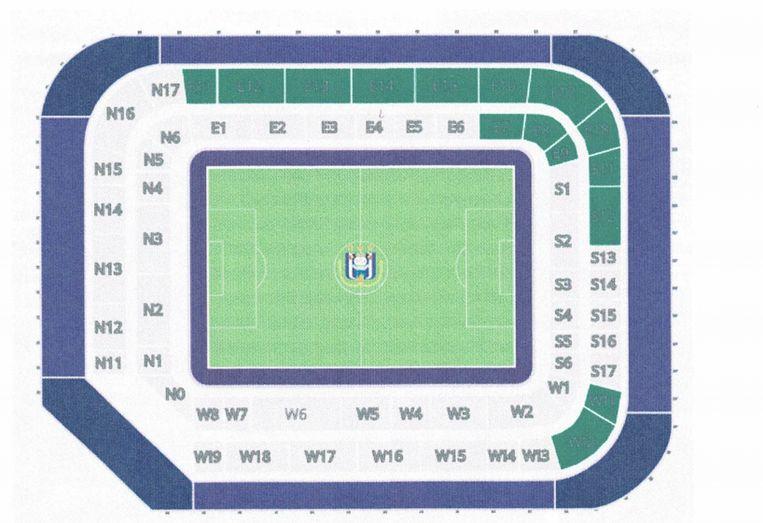De indeling van het stadion van Anderlecht.