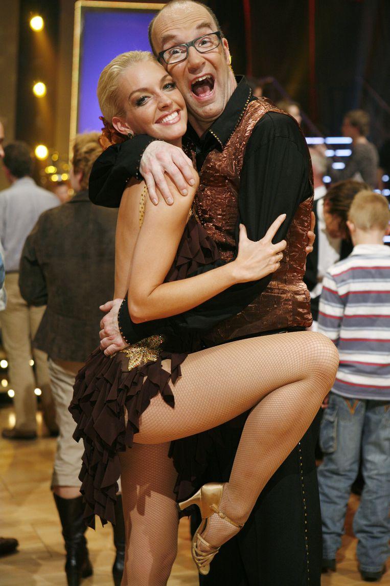 Bart Chabot met zijn danspartner bij Dancing With The Stars Kimberly Smith. Beeld ANP