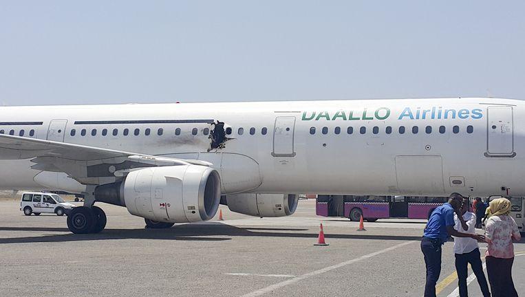 Het vliegtuig van Daallo Airlines. Beeld ap