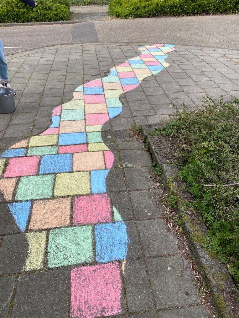 Dit kronkelpad werd gemaakt door Hebe Schrijver (13 ) en haar buurmeisje Valerie Fillipini (12). Ze wonen tegenover elkaar aan de Pekkendam in Buitenveldert.  Beeld Pascal Schrijver