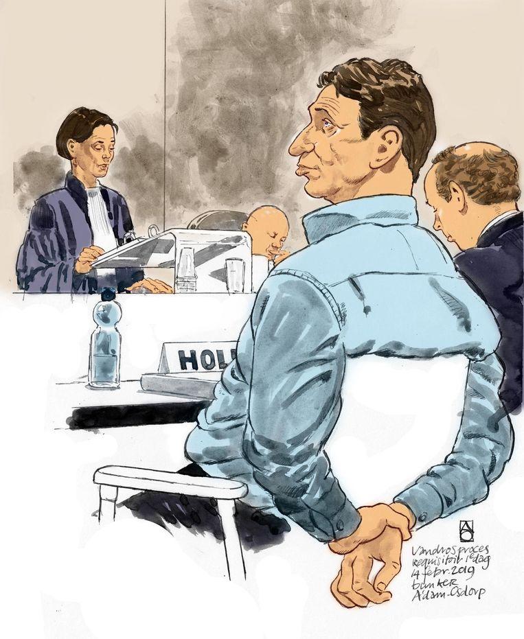 Een rechtbanktekening van Willem Holleeder tijdens de eerste dag van het requisitoir. Beeld anp