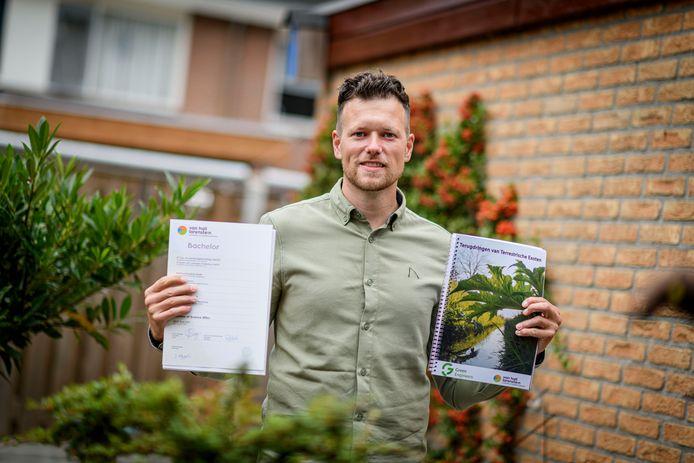 Jelmer Eggens begon op het speciaal onderwijs en heeft nu een hbo-opleiding tuin- en landschapsinrichting. Volgende maand begint hij als natuurtechnicus.