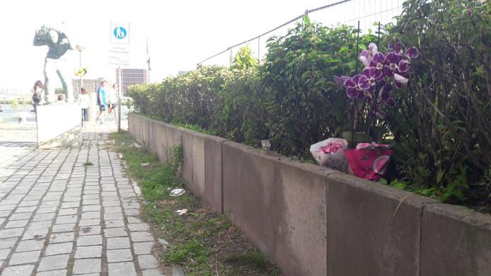 Tussen de planten naast het Nieuwe Luxor theater staan roze bloemen en een kaarsje.