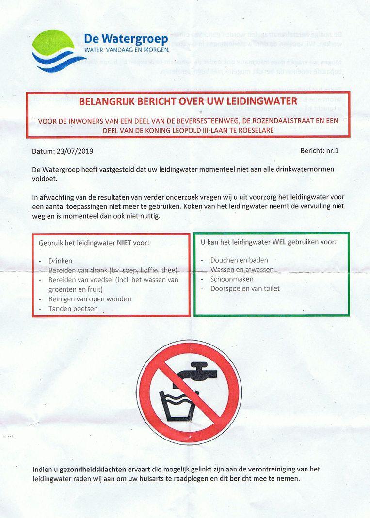 Deze brief kregen de bewoners in de bus om hen te waarschuwen over het probleem met hun leidingwater.
